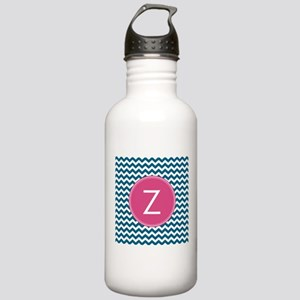 Blue Pink Monogram Water Bottle