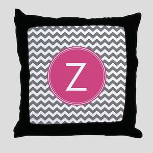 Gray Pink Monogram Throw Pillow