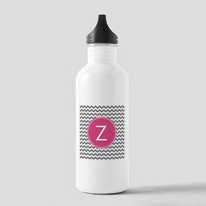Gray Pink Monogram Water Bottle