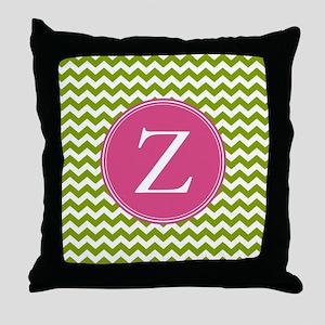 Green Pink Monogram Throw Pillow