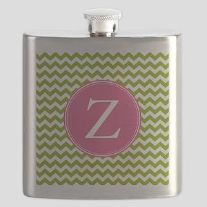 Green Pink Monogram Flask