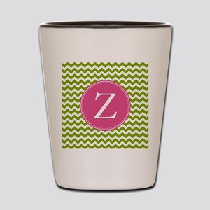 Green Pink Monogram Shot Glass