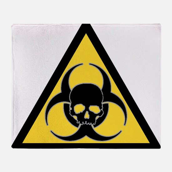 Biohazard symbol and skull Throw Blanket