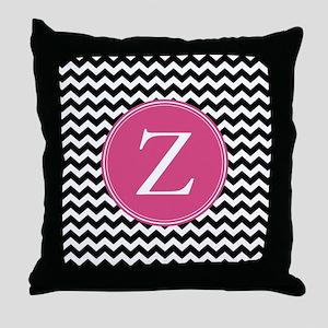 Black Pink Monogram Throw Pillow