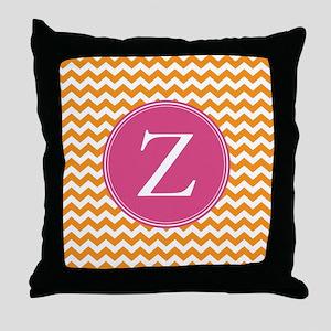 Hot Pink Orange Monogram Throw Pillow