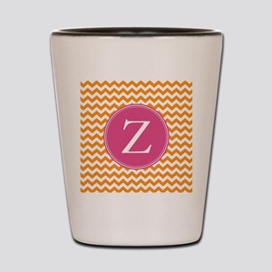 Hot Pink Orange Monogram Shot Glass