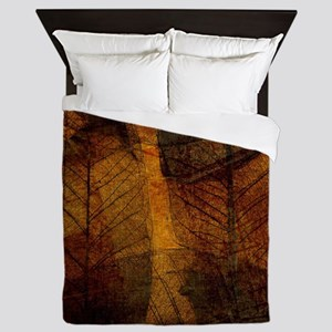 brown leaf print Queen Duvet