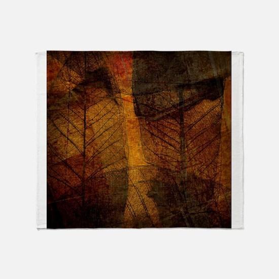 brown leaf print Throw Blanket