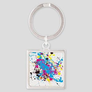 CMYK Splatter Square Keychain