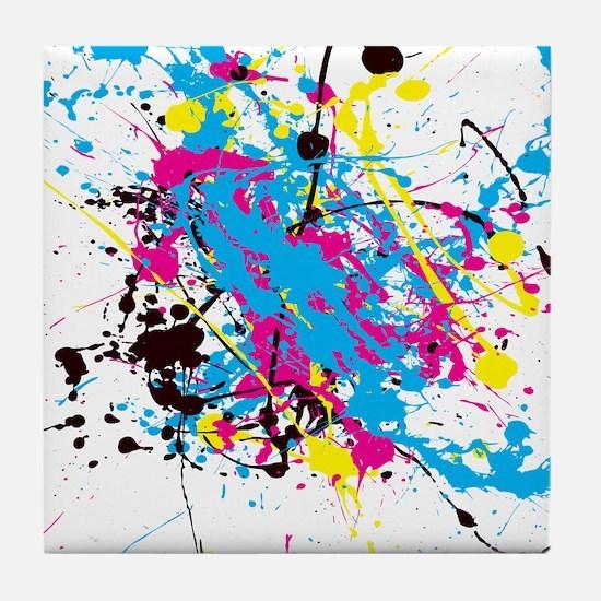 CMYK Splatter Tile Coaster