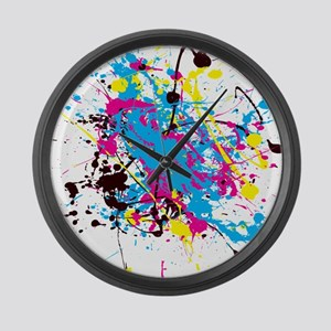CMYK Splatter Large Wall Clock