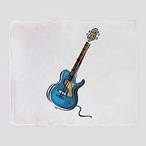 Guitar blue yellow shaded graphic Throw Blanket