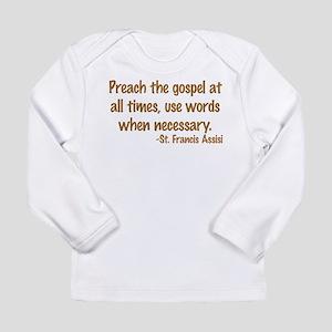 PreachTheGospelWordsBrownText1 Long Sleeve T-S