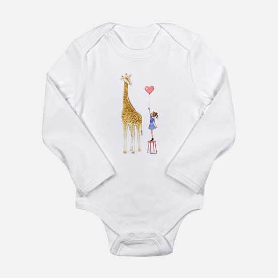 Giraffe With Little Girl And Balloon Baby Onesie