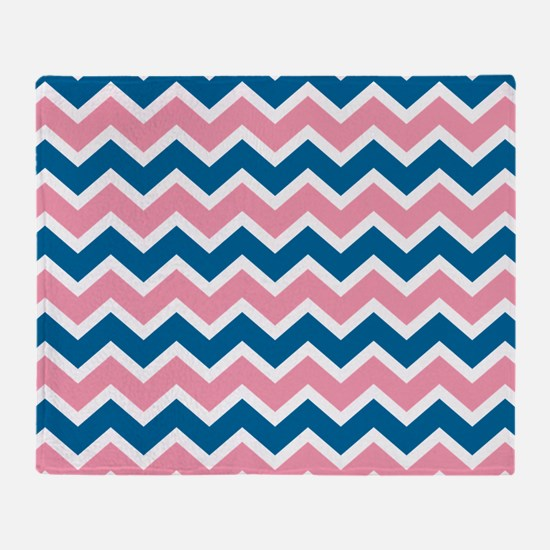 Peacock and Pink Chevrons Throw Blanket