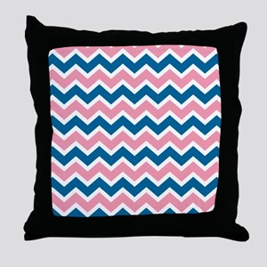 Peacock and Pink Chevrons Throw Pillow