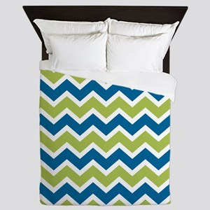 Peacock and Lime Chevrons Queen Duvet