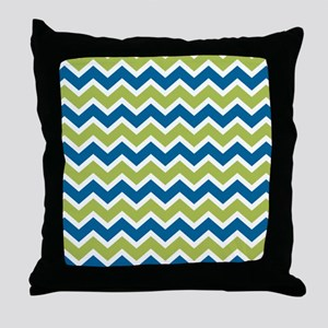 Peacock and Lime Chevrons Throw Pillow