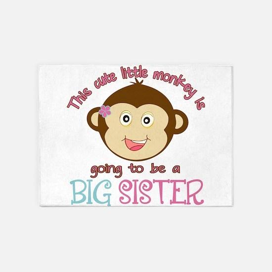 Cute Monkey Big Sister 5'x7'Area Rug