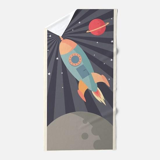 Retro Rocket Beach Towel