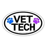 Vet Tech Pawprints Oval Sticker -10 Pack