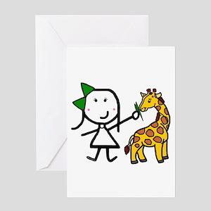 Girl & Giraffe Greeting Card