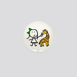 Girl & Giraffe Mini Button