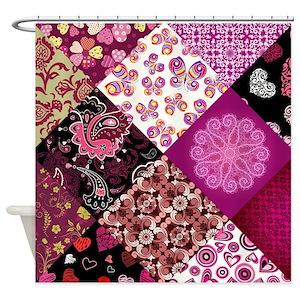 Heart Patchwork Quilt Shower Curtains