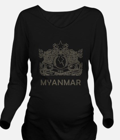 Vintage Myanmar Long Sleeve Maternity T-Shirt