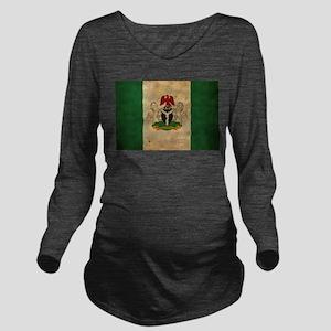 Vintage Nigeria Flag Long Sleeve Maternity T-Shirt