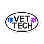 Vet Tech Pawprints Oval Car Magnet
