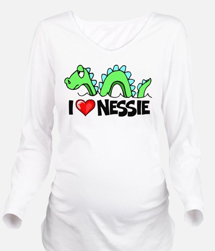 I Love Nessie Long Sleeve Maternity T-Shirt