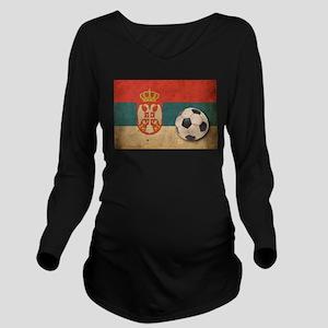 Vintage Serbia Football Long Sleeve Maternity T-Sh