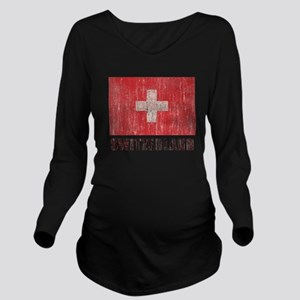 Vintage Switzerland Long Sleeve Maternity T-Shirt