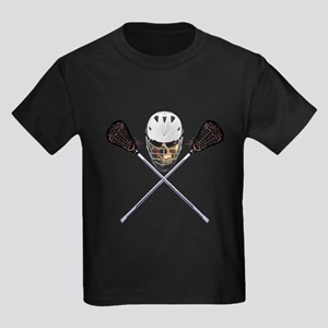 Lacrosse Pirate Skull Kids Dark T-Shirt