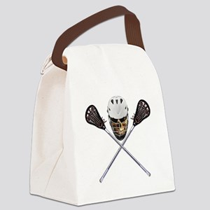 Lacrosse Pirate Skull Canvas Lunch Bag