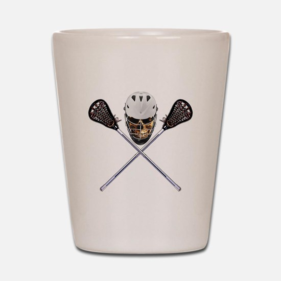 Lacrosse Pirate Skull Shot Glass