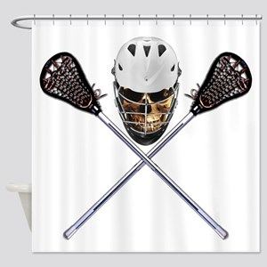 Lacrosse Pirate Skull Shower Curtain