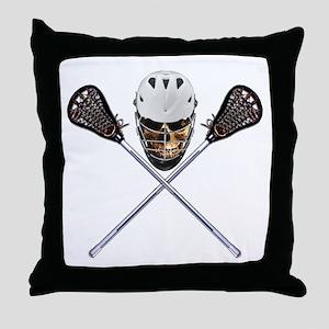 Lacrosse Pirate Skull Throw Pillow