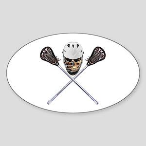 Lacrosse Pirate Skull Sticker (Oval)