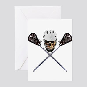 Lacrosse Pirate Skull Greeting Card