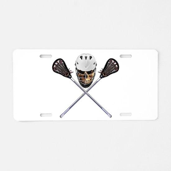 Lacrosse Pirate Skull Aluminum License Plate