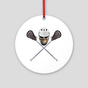 Lacrosse Pirate Skull Ornament (Round)