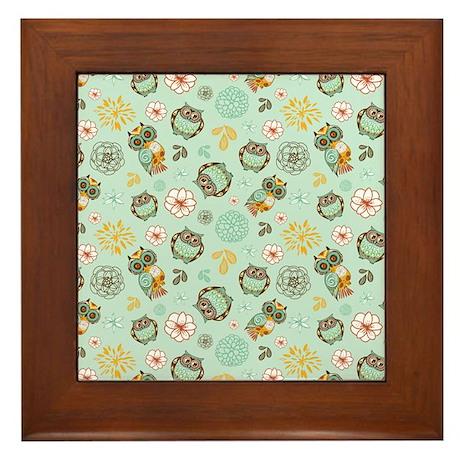 Whimsical Owl Pattern Framed Tile