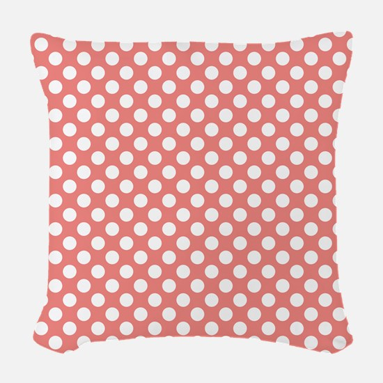 Coral Pink Polka Dots, square Woven Throw Pillow