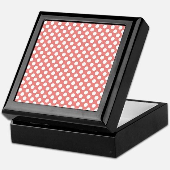 Coral Pink Polka Dots, square Keepsake Box