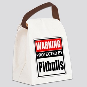 Warning Pitbulls Canvas Lunch Bag