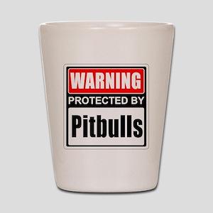 Warning Pitbulls Shot Glass