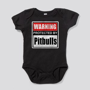 Warning Pitbulls Baby Bodysuit