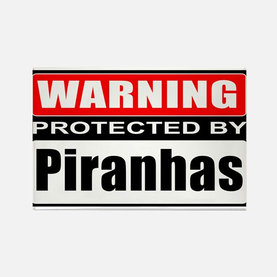 Warning Piranhas! Rectangle Magnet